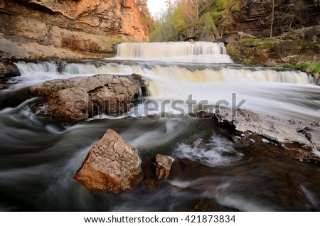 Willow River Falls at Willow River State Park in Wisconsin - stock photo