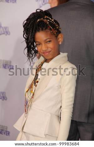 "Willow Smith  at the ""Justin Bieber: Never Say Never"" Los Angeles Premiere, Nokia Theater, Los Angeles, CA. 02-08-11 - stock photo"