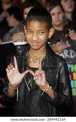 Willow Smith at the Los Angeles premiere of 'The Twilight Saga: Breaking Dawn Part 1' held at the Nokia Theatre L.A. Live in Los Angeles on November 14, 2011.  - stock photo