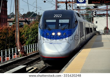 Wilmington, Delaware - October 20, 2015:  AMTRAK's Acela Train #2160 arriving on Track 2 at the Wilmington Train Station