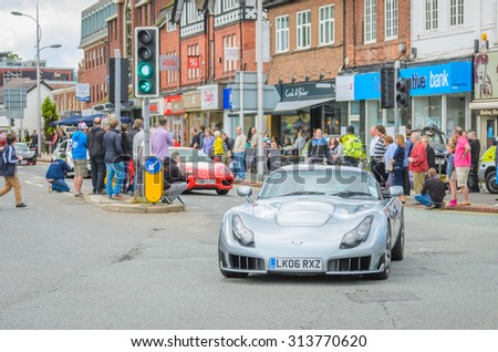 Wilmslow UK - July 9, 2013 : A TVRduring the annual public gathering of local sports and super cars in affluent Wilmslow, Cheshire - stock photo