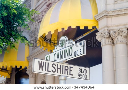 Wilshire Boulevard Sign in Beverly HIlls, California, USA - stock photo