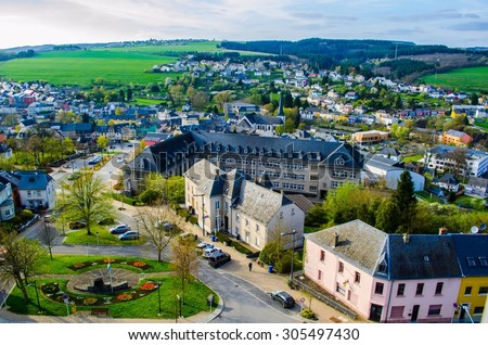 WILTZ, LUXEMBOURG, APRIL 9, 2014: View from the monument commemorating victims of general strike in 1942 in wiltz.