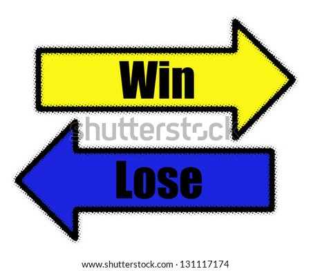 Win and lose signs in blue and yellow arrows concept - stock photo