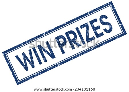 win prizes blue square stamp isolated on white background - stock photo