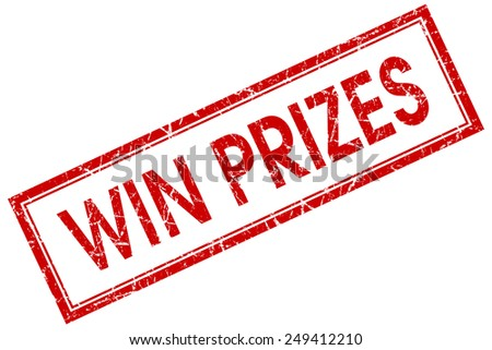 win prizes red square stamp isolated on white background - stock photo