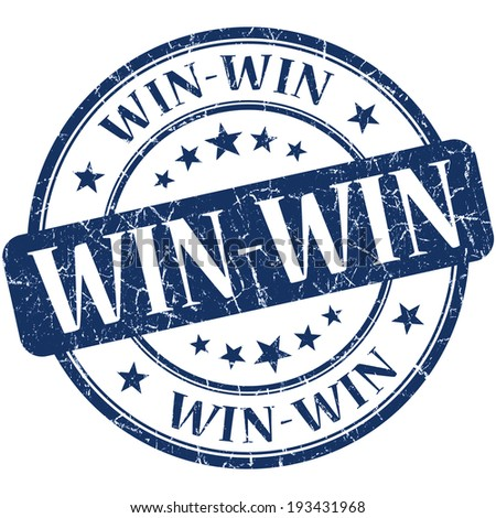 Win-win blue round grungy vintage rubber stamp - stock photo
