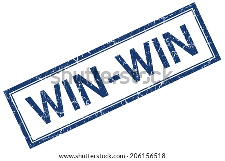 Win-win blue square grungy stamp isolated on white background - stock photo
