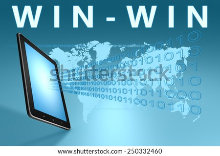 Win-Win illustration with tablet computer on blue background - stock photo