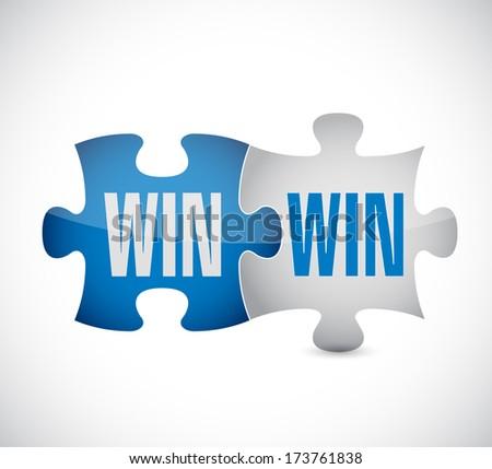 win win puzzle illustration design over a white background - stock photo