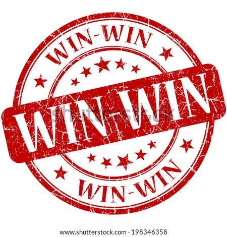 Win-win red round grungy vintage rubber stamp - stock photo