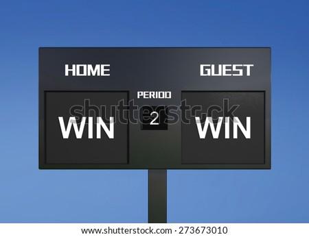 win win scoreboard display the goal result  - stock photo