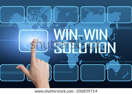 Win-Win Solution concept with interface and world map on blue background - stock photo
