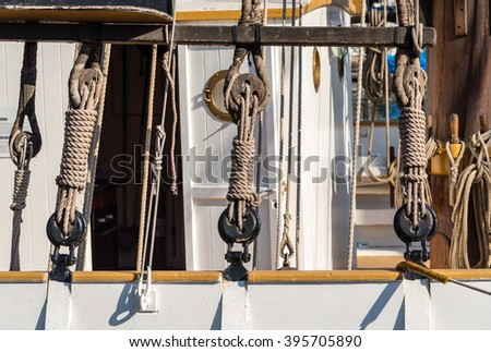 winches and ropes on a sailing boat