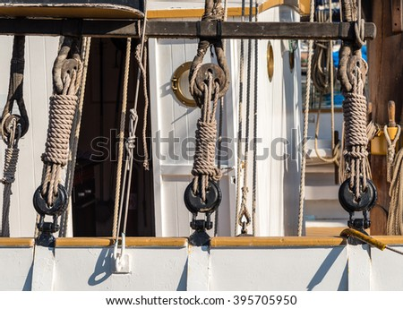 winches and ropes on a sailing boat - stock photo