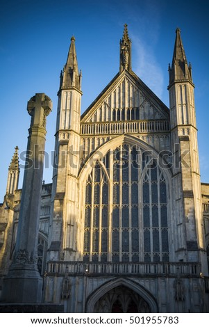 Winchester cathedral at golden hour