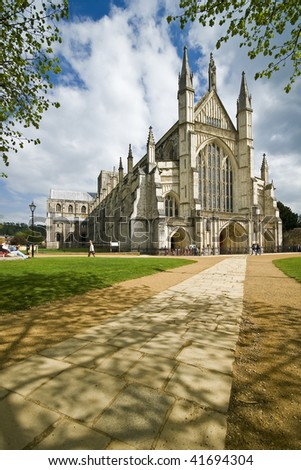 Winchester Cathedral on a beautiful day - stock photo