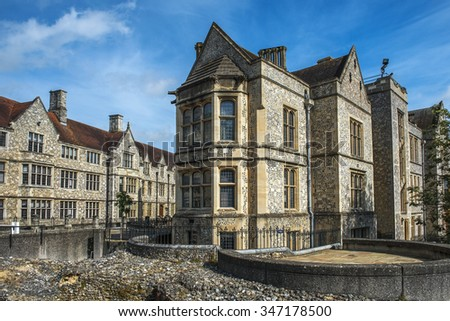 Winchester, Hampshire, England - August 02: the Great Hall of Winchester Castle, founded in 1067, now is museum of the history of on August 02, 2015 in Winchester, Hampshire, England - stock photo