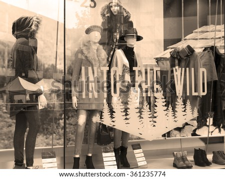 Winchester, The Brooks Shopping Centre, Hampshire, England - July 31, 2015: Primark ladies and gentlemen budget clothing retailer window displays - stock photo
