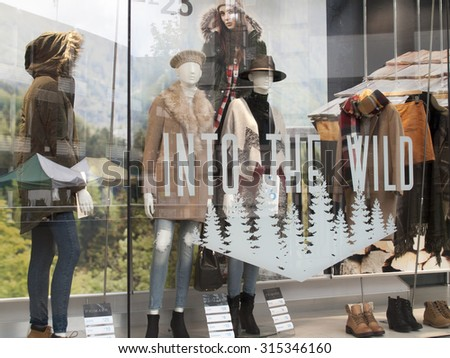 Winchester, The Brooks Shopping Centre, Hampshire, England - September 4, 2015: Primark Shopfront window display, affordable clothing retailer - stock photo
