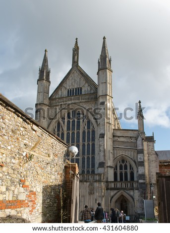 WINCHESTER, UK - FEBRUARY 07: Facade of Winchester Cathedral in England, UK. . Winchester, UK on February 08, 2016.