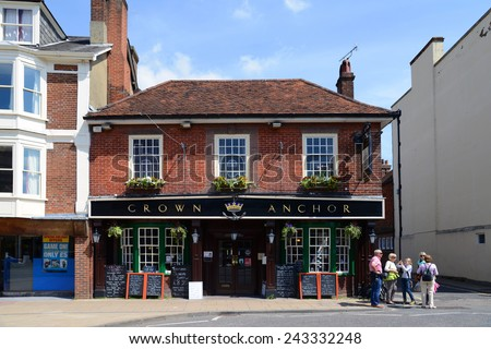 WINCHESTER, UNITED KINGDOM - MAY 26, 2013: A typical English pub in the centre / center of Winchester, Hampshire. - stock photo