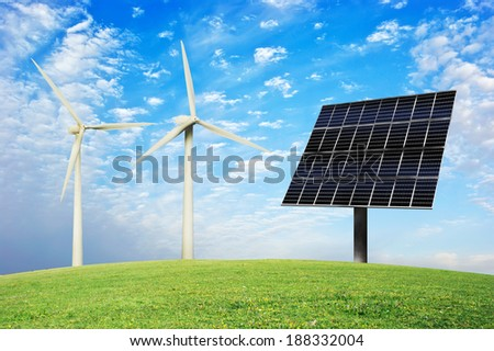 Wind and solar power stations on the pastoral.