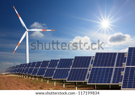 wind energy and solar electricity - stock photo