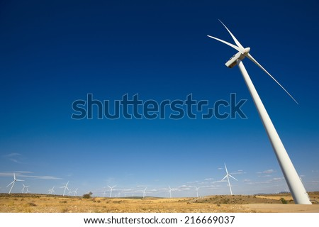 Wind energy and windmills in the countryside. Spain. Horizontal