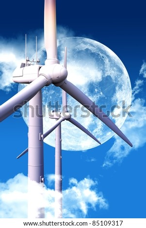 Wind Energy at Night. Cool Night Sky with Huge Moon and Two Modern Wind Turbines Between Clouds. - stock photo