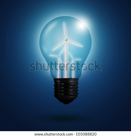wind energy concept  concept: light bulbs with wind turbine inside - stock photo