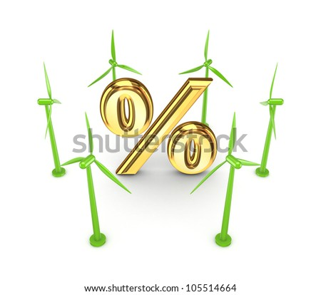 Wind energy concept.Isolated on white background.3d rendered. - stock photo