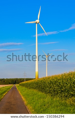 wind energy corn field blue sky