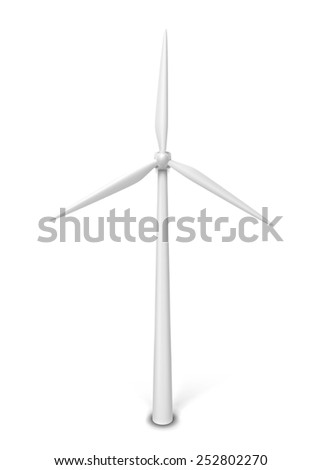 Wind energy generator. 3d illustration isolated on white background  - stock photo