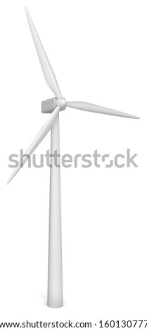 Wind energy generator. 3d illustration on white background
