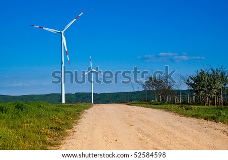 wind energy turbine power station in the rural