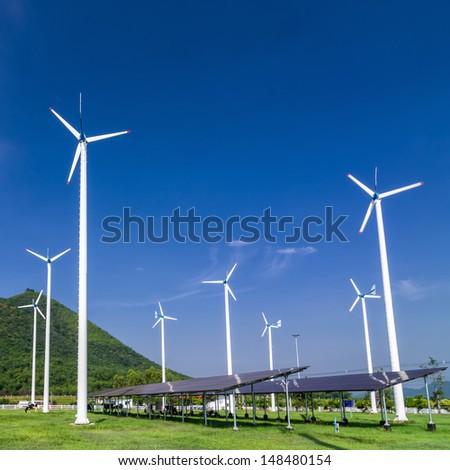 Wind energy turbines. In power stations. Phetchaburi Province, Thailand. - stock photo
