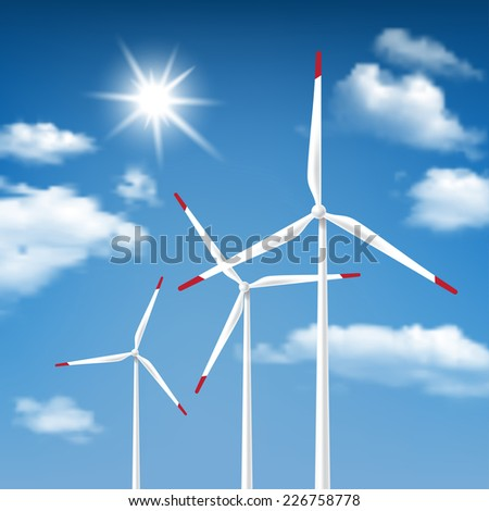 Wind Energy - Wind Turbines with Blue Sky Sunny Cloudscape background - stock photo