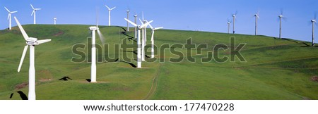 Wind energy windmills along Route 580, Altamont, California - stock photo