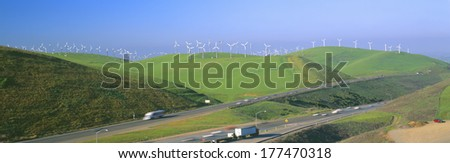 Wind energy windmills along Route 580, Altamont, California - stock photo