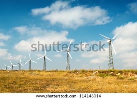 Wind farm, alternative energy - stock photo