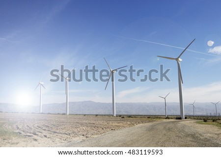 Wind farm and bright sunshine