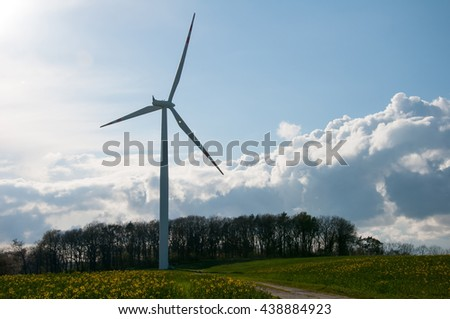 Wind farm at the end of a country road