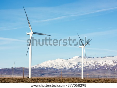 Wind farm generating electricity in the winter