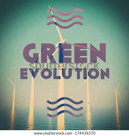 Wind farm green energy grunge, vintage poster - stock photo