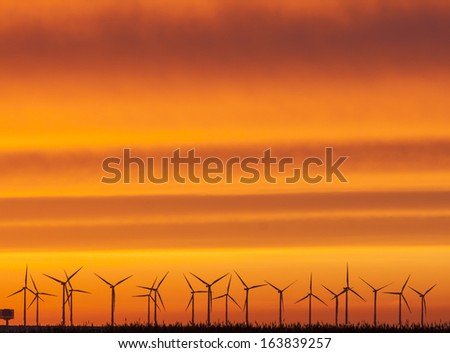 Wind farm in Scandinavia. Here in sunset in November.