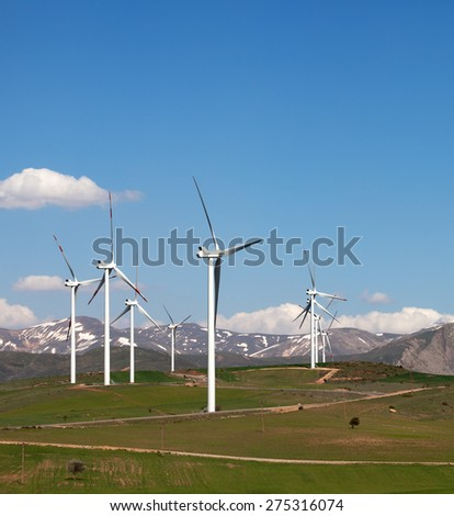 Wind farm in Turkey at nice spring day - stock photo