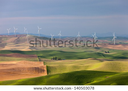 Wind Farm on Rolling Hills - stock photo
