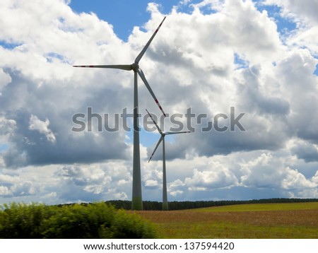 Wind farm on the cornfield