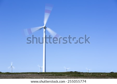 Wind farm on the island of Madeira, Portugal - stock photo